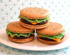 Burger Macroons - I'm thinking we should pick a challenge item to figure out how to make?