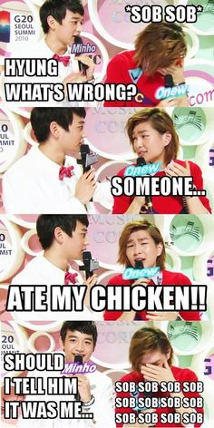 SHINee MACROS + Funny ahh onew and his chicken...