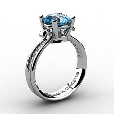 Classic Modern 14K White Gold 2.0 Ct Blue Toapz Daimond