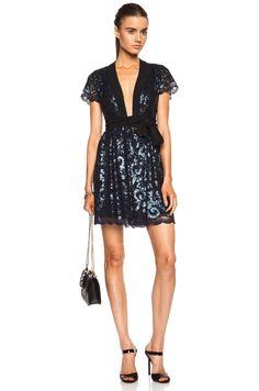 Diane von Furstenberg Sabina Sequined Lace Wrap Dress 8 NWT $869 #DVF #WrapDress #Cocktail