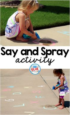 Any activity that allows someone to use spray bottle is a great activity according to my daughter. So, obviously, Say and Spray was a HUGE hit at our house and I have no doubt it would be a huge hit at your home or in your classroom. # Say and Spray Preschool Literacy, Preschool Letters, Learning Letters, Literacy Activities, Educational Activities, Toddler Activities, Alphabet Activities, Summer Activities For Preschoolers, Outdoor Preschool Activities