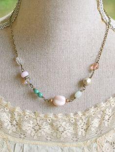 Olivia.pastel,vintage beaded,pearl,rhinestone necklace. tiedupmemories