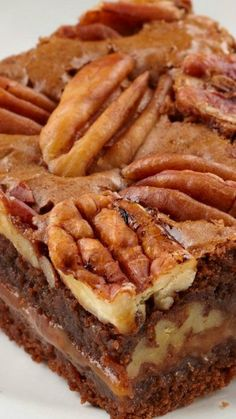 Caramel Pecan Brownies Recipe Dark chocolate brownies layered with chewy caramel…