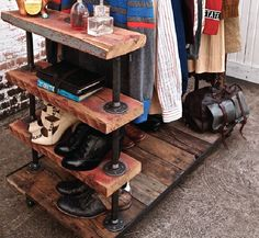 plumbing pipes for closet | reclaimed wood a plumbing pipe rolling closet. i'll take (6), please ...
