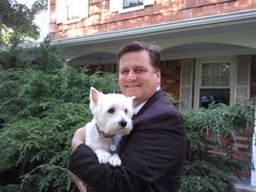 Assemblyman Edward Hennessey, 3rd AD and his best friend Sparky.  Sparky is a female West Highland White Terrier, or Westie. She adores the Assemblyman and does not like to leave his side. He is very happy with that arrangement!