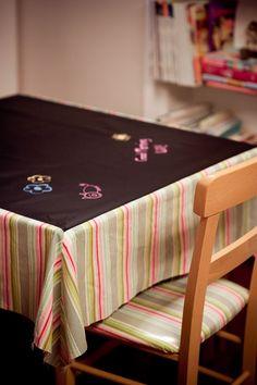 BLACK CHALK CLOTH BOARD FABRIC CHALKBOARD PLAIN TABLECLOTH CO click for size