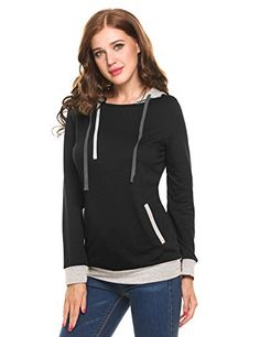 Meaneor Women's Hooded Long Sleeve Patchwork Pullover Pocket Hoodie(B,XL) ** Check out the image by visiting the link. Fashion Hoodies, Country Girls, Closure, Zipper, Pockets, Pullover, Sweatshirts, Link, Long Sleeve
