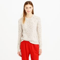 Mohoair pointelle cable sweater : Pullovers | J.Crew