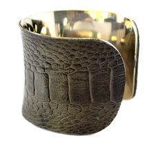 Grey Ostrich Leather Cuff Bracelet by UNEARTHED by UNEARTHED