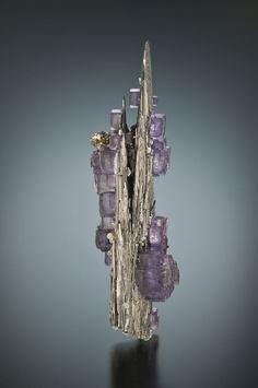 Fluorite on Ferberite - Minas da Panasqueira, Aldeia de São Francisco de Assis, Covilhã, Castelo Branco, Cova da Beira, Centro, Portugal Size: 7.0 x 1.5 cm