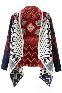 Fancy Open-Front Knit Cardigan