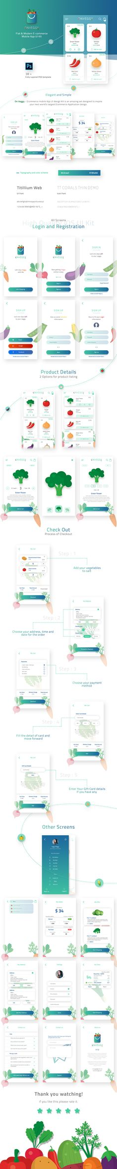 Buy On Veggy - Multipurpose E-commerce App UI Kit by Potenzaglobalsolutions on GraphicRiver. On Veggy – Ecommerce mobile App UI design Kit is an amazing set designed to inspire your next world's largest E-comme. Mobile Ui Design, App Ui Design, Interface Design, Flat Design, User Interface, Ui Kit, Photoshop, Module Design, Ecommerce App