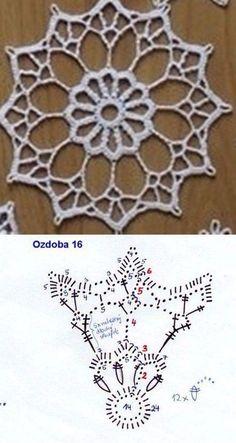Crochet Mandala + Diagram + Free Pattern Step By Step Crochet Snowflake Pattern, Crochet Motif Patterns, Crochet Stars, Crochet Circles, Crochet Snowflakes, Thread Crochet, Crochet Doilies, Crochet Christmas Ornaments, Snowflake Ornaments