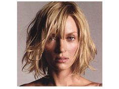 Uma Thurman Short Messy Bob