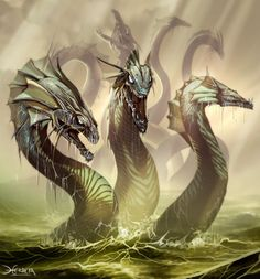 This monster from Greek mythology is called a hydra and is significant because it is the antagonist in many Greek myths including the Second Labor of Hercules. The hydra is a serpent like monster that grows multiple heads in the absence of the first. Greek Monsters, Myths & Monsters, Sea Monsters, Magical Creatures, Fantasy Creatures, Mythical Water Creatures, Greek Creatures, Greek Mythological Creatures, Bild Tattoos