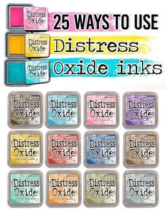 Distress Oxide ink pads by Tim Holtz set (mid all 12 Colors Encre Distress Ink, Tim Holtz Distress Ink, Distress Oxide Ink, Card Making Tips, Card Making Tutorials, Card Making Techniques, Distress Ink Techniques, Art Journal Techniques, Embossing Techniques