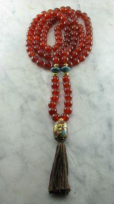 Ayurvedic Vitality Mala 108 Carnelian Mala Beads Buddhist Prayer Beads Kapha