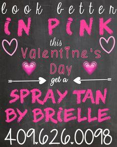 Valentine's Day spray tan Airbrush Tanning, Valentines Day, Pink, Valentine's Day Diy, Pink Hair, Roses, Valentine Words, Valentines, Valentine's Day