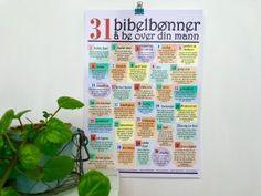 """Annonse. Bønneplakat: """"31 bibelbønner å be over din mann"""". Bestilling: hjertehjemme@gmail.com"""