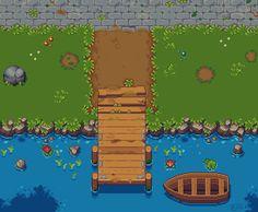 A Peaceful Village Dock : PixelArt Top Down Game, Arte 8 Bits, Cool Pixel Art, Pix Art, Pixel Art Games, Isometric Design, Art Folder, Aesthetic Painting, Environmental Art