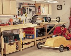 Modular Workbench  Five foldout features make this bench a perfect project for even small shop spaces. Workbench for a small space. A fold-out work table, a roll out table saw stand, a miter box table and lots of storage—cabinets, drawers, pegboard and shelves. All inexpensive and easy to build. Ideal for a garage or other limited shop space.