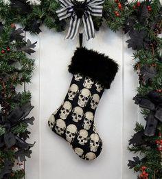 Skull Black Faux Fur Christmas Stocking