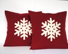 Un flocon de neige Noël coussins/couverture, 20 x 20, oreiller vacances, coussin décoratif, décoration de Noël