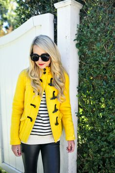 Yellow jacket, stripes and leather
