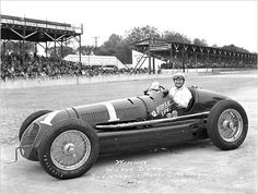 Wilbur Shaw, behind the wheel of the Boyle Special that he drove to victory in the 1939 and 1940 Indianapolis 500. This shot is from 1940.<br />