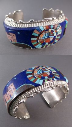 Cuff | Alvin Yellowhorse (Navajo).  Sterling silver with inlay including lapis, red coral, pink coral, boulder opal and several turquoises.
