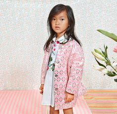 Beautiful pink brocade coat from Anne Kurris for spring 2016 kids fashion from Belgium