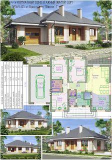Проекты домов от Евгения Мороза: №169-01. Готовый проект одноэтажного дома с гаражом (127,8м²)