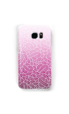 """""""Ombre pink and white swirls zentangle"""" Samsung Galaxy Cases & Skins by @savousepate on @redbubble #galaxycase #phonecase #galaxyskin #phoneskin #pattern #drawing #doodles #zentangle #abstract #ombrepink #pink #pastelpink #magenta #fuchsia #white #gradientpink"""