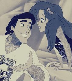 tattoo inked up & pierced disney princess cartoons - love this Ariel and Prince Eric (the little mermaid) Images Ariel, Images Disney, Disney Pictures, Epic Pictures, Heros Disney, Disney Pixar, Ariel Disney, Walt Disney, Ariel Ariel