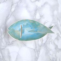 Porte-savon en céramique de poisson avec aqua glacis et gill