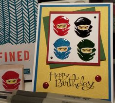 Stampin Up Undefined Lego Ninjago Card. I carved this stamp myself for my two little guys. Gloria Kremer