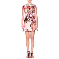 Emilio Pucci Cap-Sleeve Boat-Neck Printed Shift Dress
