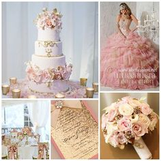 Pink & Gold!  #quinceaneradotcom  For more ideas click link in bio