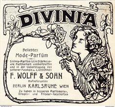 Werbung - Original-Werbung/ Anzeige 1908 - DIVINIA MODE-PARFÜM / WOLFF - KARLSRUHE - ca. 80 x 75 mm