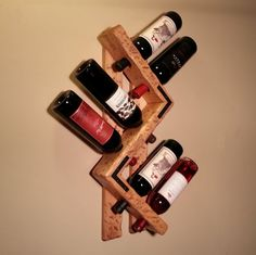 Rustic Wood Wine rack. 6 Bottle. Style-Right by OneByOneCreations