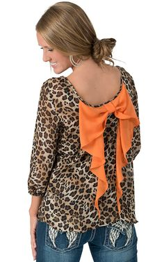 Moa Moa® Women's Leopard Print Chiffon with Orange Bow Back 3/4 Sleeve Fashion Top