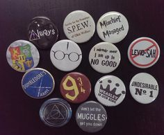 Black Umbrella Industries proudly flies their Harry Potter geek flag in offering these magical 1.25 / 32mm pinback buttons/badges, that revel in