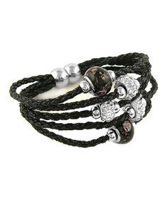 Black Leather Beaded Bracelet With Swarovski® Crystals