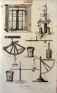 1852 Antique science physics print of Weighing by LyraNebulaPrints