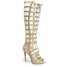 """KENDALL + KYLIE 'Emily' Tall Gladiator Sandal, 4 1/2"""" heel (4.434.900 VND) ❤ liked on Polyvore featuring shoes, sandals, taupe suede, lace up sandals, lace up stilettos, high heel sandals, taupe sandals and gladiator sandals shoes"""