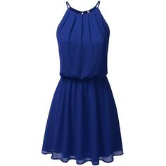 JJ Perfection Women's Sleeveless Double-Layered Pleated Mini Chiffon... (265.745 IDR) ❤ liked on Polyvore featuring dresses, mini dress, layered chiffon dress, blue dress, chiffon cocktail dress and pleated dresses