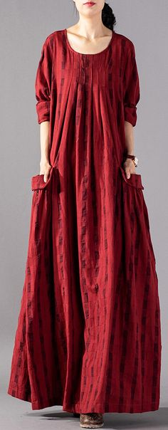 Women o neck wrinkled cotton quilting dresses Korea Outfits red Plaid cotton rob… Women o neck wrinkled cotton quilting dresses Korea Outfits red Plaid cotton robes Dress spring Short Beach Dresses, White Maxi Dresses, Spring Dresses, Cotton Dresses, Sexy Dresses, Casual Dresses, Mode Hijab, Kaftan, The Dress