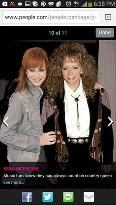 Reba McEntire with her younger self Reba Mcentire, Rocks, Singer, Actresses, Music, Party, Style, Fashion, Female Actresses