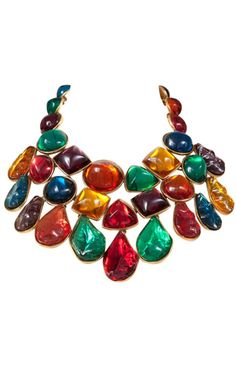 {Vintage Costume Jewelry Love} Giant Jeweled Bib Necklace by Yves SaintLaurent  This fabulous vintage bib necklace by Yves Saint Laurent reminds me of a bouquet of lollipops!! How much fun is this guy???