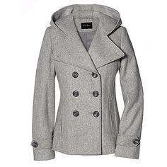 Womens Classic Fully Lined Double Breasted Pea Coat Jacket